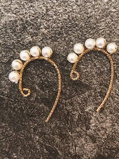 925 sterling silver imitation pearl Irregular minimalist hook earring
