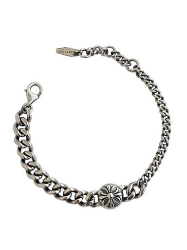 925 Sterling Silver Flower Vintage Link Bracelet