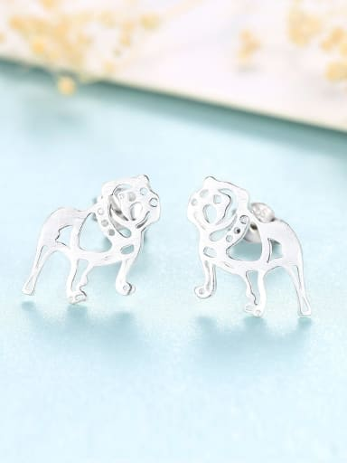 Platinum 17G11 925 Sterling Silver Dog Cute  dog Stud Earring