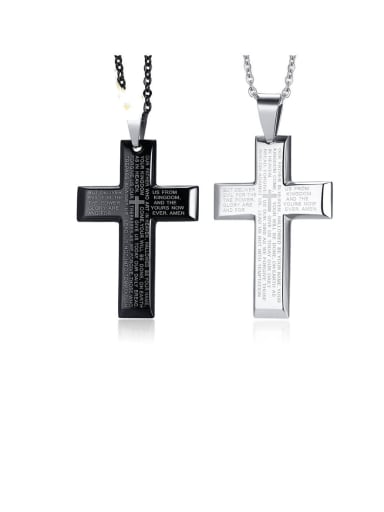 Stainless Steel Letter Cross Minimalist Regligious Necklace