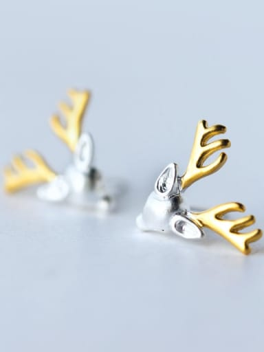 925 Sterling Silver Deer Cute Stud Earring