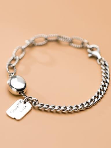 925 Sterling Silver Letter Vintage Link Bracelet