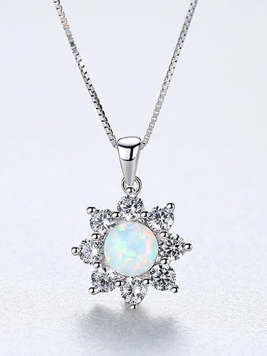White 20f07 925 Sterling Silver Simple Opal Inlaid Zircon Sun Flower  Necklace