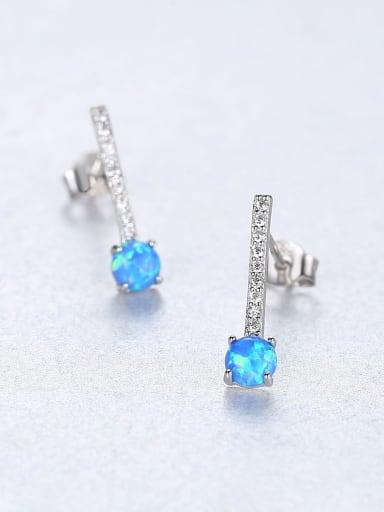 925 Sterling Silver Cubic Zirconia  Minimalist Geometric  Stud Earring
