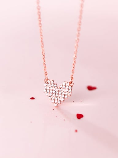925 Sterling Silver  Simple fashion full diamond heart pendant necklace