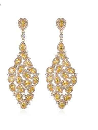 Copper Cubic Zirconia Water Drop Luxury Cluster Earring