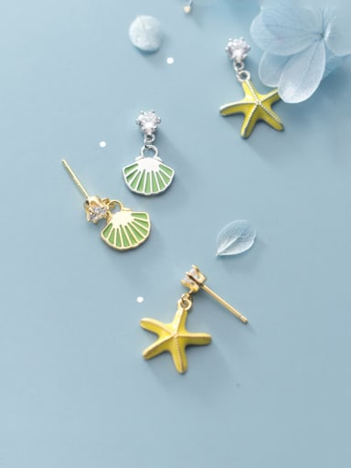 925 Sterling Silver With Platinum Plated Fashion Asymmetric Star Shell Drop Earrings