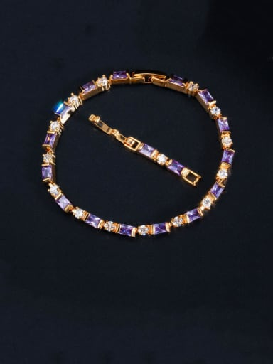 Violet Copper With Gold Plated Fashion Geometric Bracelets
