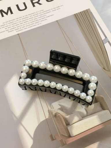 Black 8.8cm Cellulose Acetate Imitation Pearl Minimalist Geometric  Jaw Hair Claw