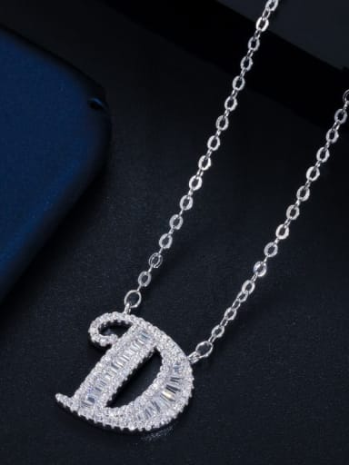 Letter D with chain) Copper Cubic Zirconia Message Minimalist letter pendant Necklace