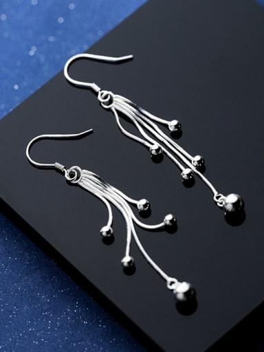 925 Sterling Silver Bead Tassel Minimalist Hook Earring