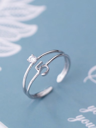925 Sterling Silver Cubic Zirconia  Number 5 Minimalist Free Size Ring