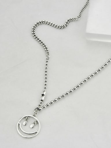 Vintage Sterling Silver With Platinum Plated Simplistic Hollow Smiley Power Necklaces