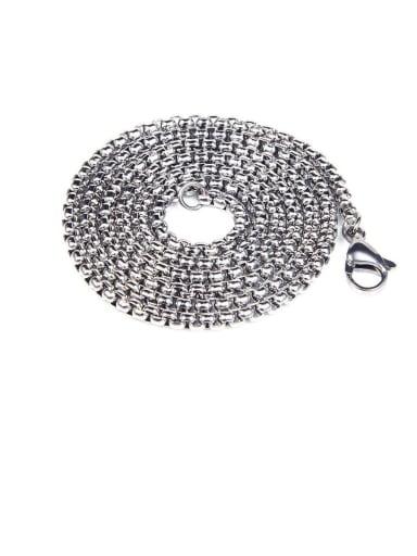60cm Chain Titanium Vintage  Square Pendant