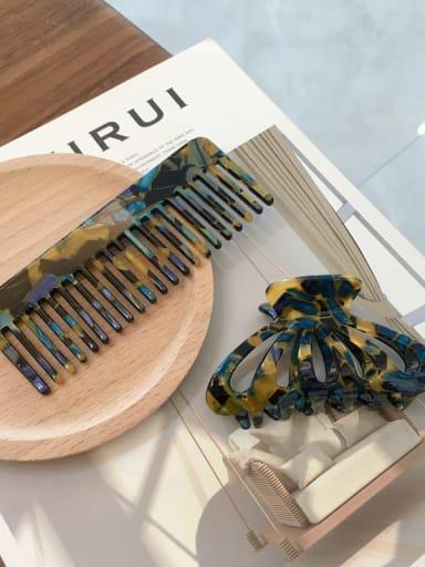 Blue Gold suit Cellulose Acetate Vintage Comb hairpin two-piece set