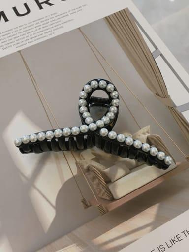 black Cellulose Acetate Minimalist Geometric Imitation Pearl Jaw Hair Claw