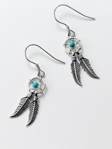 925 Sterling Silver Turquoise Leaf Vintage Hook Earring