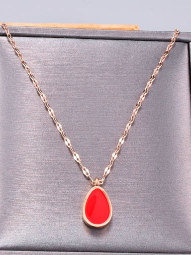 Titanium Enamel Water Drop Minimalist Necklace