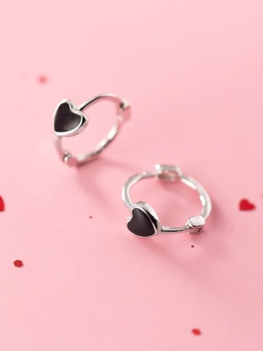925 Sterling Silver Black Enamel Heart Cute Clip On Earrings