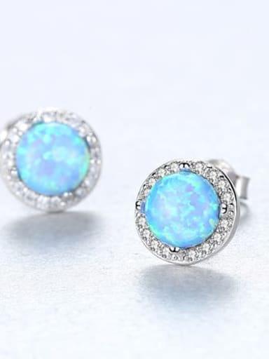 Blue 18E04 925 Sterling Silver Opal Round Minimalist Stud Earring