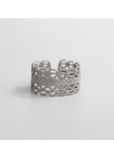 White Gold S925 Sterling Silver open cut hand cut lace ring