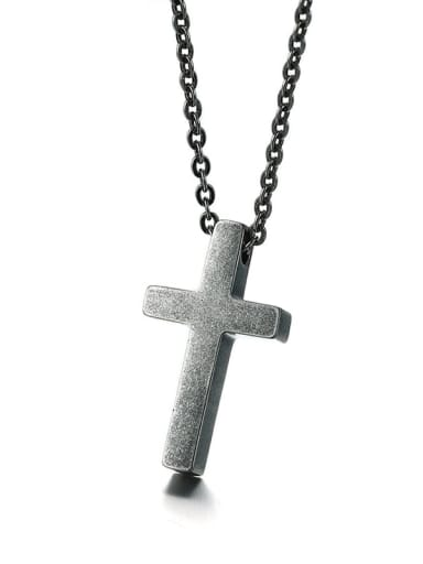 Retro grey Stainless Steel  Smooth Cross Minimalist Regligious Necklace