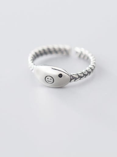 925 sterling silver minimalist Smiley free size  ring
