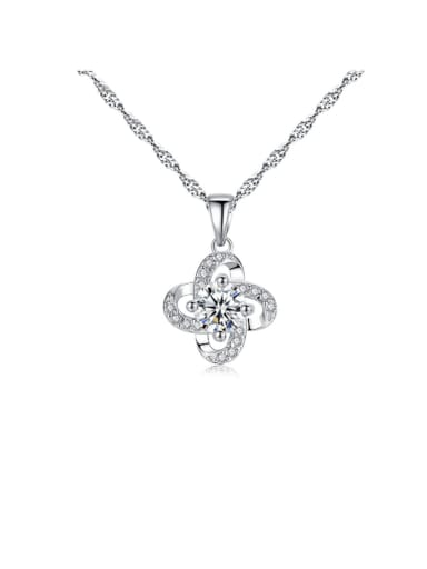 925 Sterling Silver Cubic Zirconia Four-leaf clover pendant  Necklace