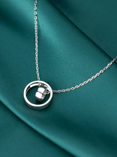 925 Sterling Silver With  Fashion Minimalist  Hollow Round Necklaces