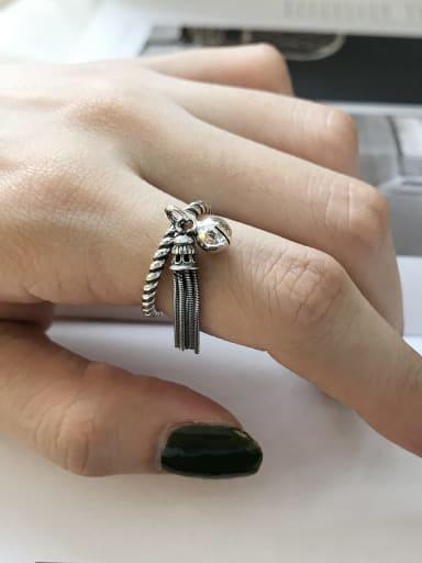925 Sterling Silver Bells tassel free size Ring