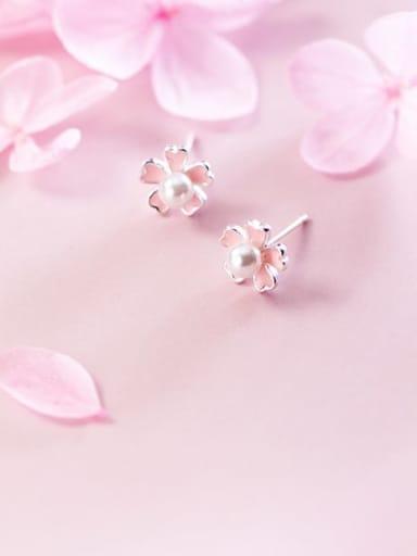 925 sterling silver imitation pearl  enamel flower cute stud earring