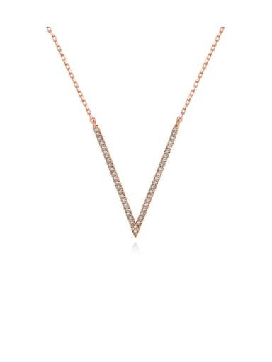 Copper Cubic Zirconia White Irregular Minimalist Lariat Necklace