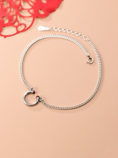 925 Sterling Silver Vintage Texture Circle Trend Chain Anklet