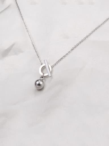 silvery Titanium Smooth Bead Necklace