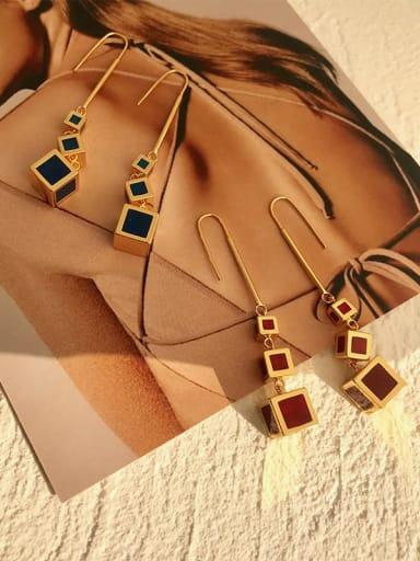 Copper Multi Color Enamel Geometric Minimalist Hook Earring