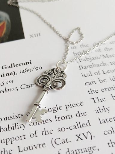 925 Sterling Silver Retro Fancy Key Necklace