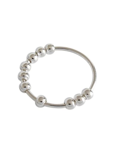 925 Sterling Silver Round Bead Minimalist Band Ring