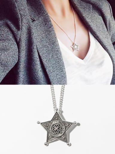 925 Sterling Silver Vintage Pentagram  Necklace