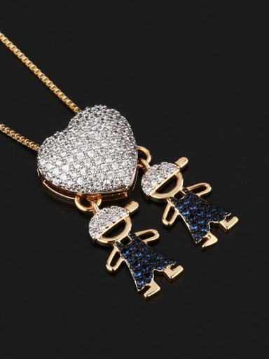 Twin man Brass Cubic Zirconia Heart Cute boy and gril pendant Necklace