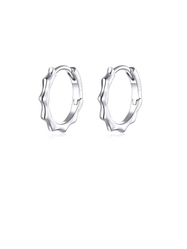 925 Sterling Silver With White Gold Plated Minimalist Geometric Hoop Earrings