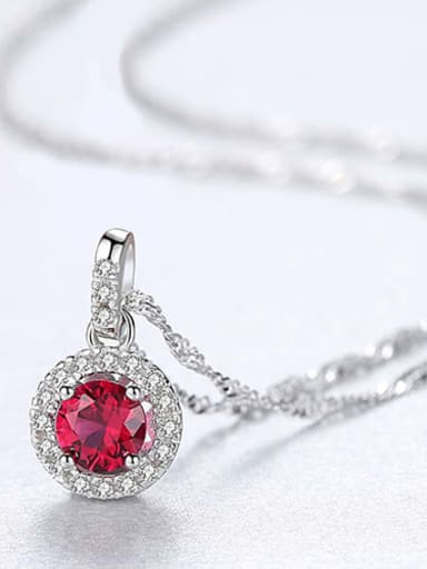 Red 20f12 925 Sterling Silver Cubic Zirconia Multi Color  Simple Round Necklace