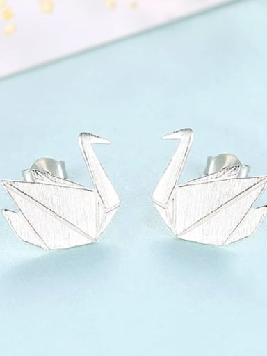 Platinum 16G11 925 Sterling Silver Irregular Minimalist    Thousand paper cranes Study Earring