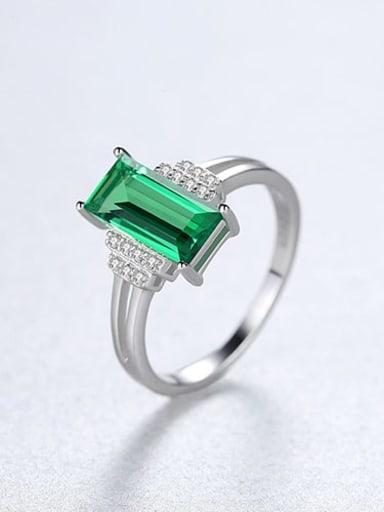 925 Sterling Silver Rhinestone Square Minimalist Band Ring