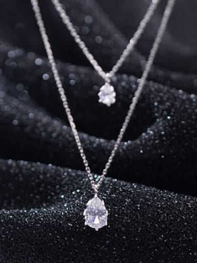 925 Sterling Silver Cubic Zirconia White Water Drop Minimalist Multi Strand Necklace