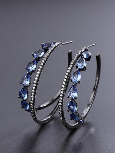 Blue Earrings Brass Cubic Zirconia Round Luxury Hoop Earring