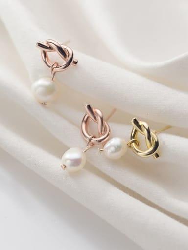 925 Sterling Silver Imitation Pearl White Irregular Minimalist Drop Earring