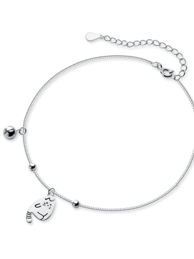 925 Sterling Silver Cute kitty bell anklet Anklet