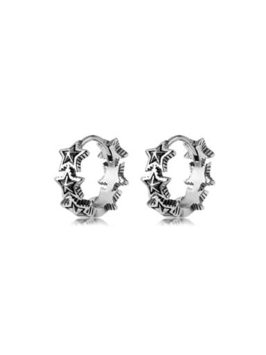 925 Sterling Silver Star Vintage Huggie Earring
