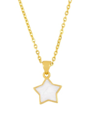 five-pointed star Brass Shell Heart Minimalist  pendant Necklace