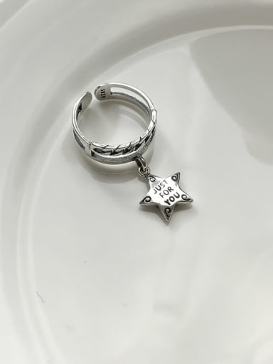 925 Sterling Silver Star Vintage Free Size  Stackable Ring